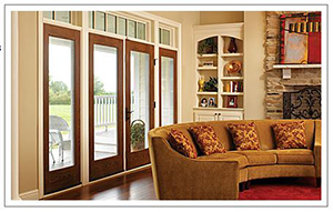 Stain-grade fiberglass french patio doors